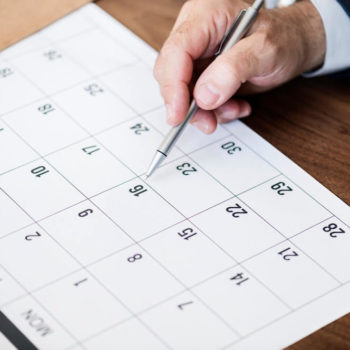 Calendar schedule with pen