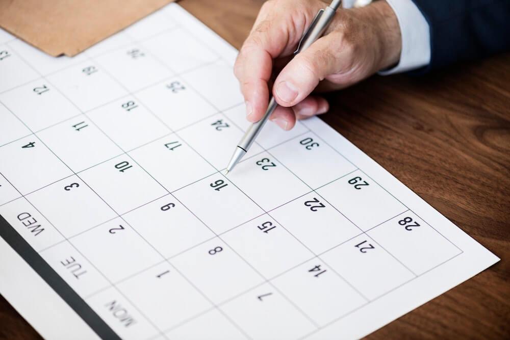 Calendar schedule with pen